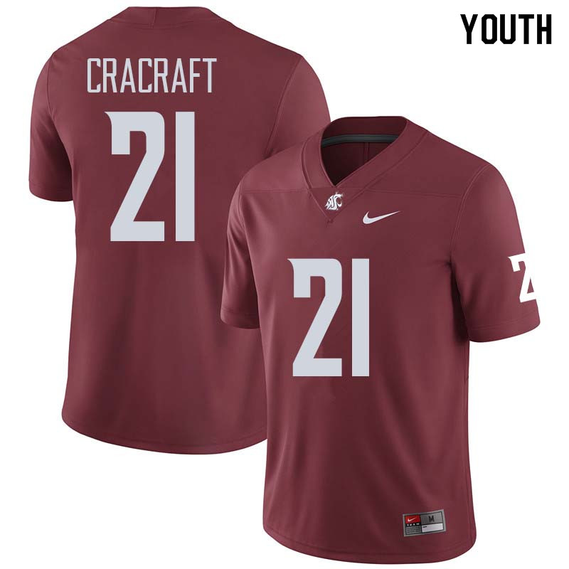 Youth #21 River Cracraft Washington State Cougars College Football Jerseys Sale-Crimson