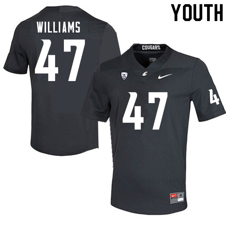 Youth #47 Tyler Williams Washington Cougars College Football Jerseys Sale-Charcoal