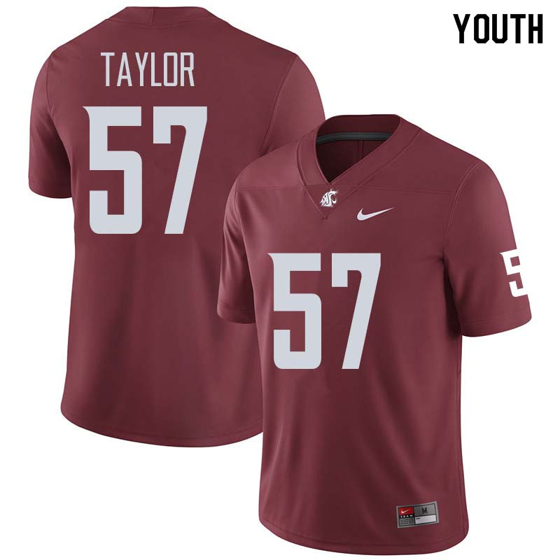Youth #57 Willie Taylor Washington State Cougars College Football Jerseys Sale-Crimson